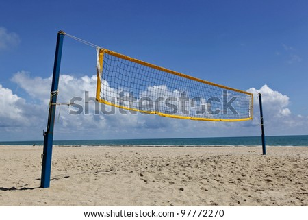 beach volley net with a blue sky