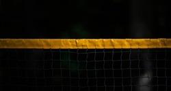 Beach volleyball and beach tennis net on dark background. Horizontal sport poster, greeting cards, headers, website