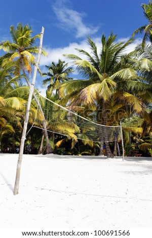 beach volleyball net, on a sunny day in Mexico