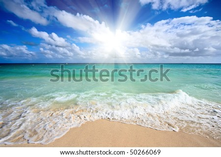 Beach wave, Caribbean Sea, Mexico