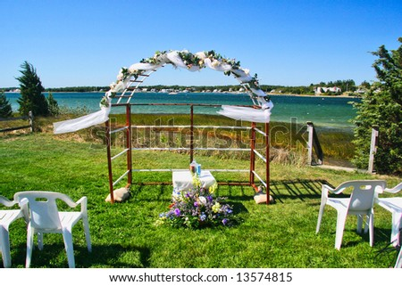 stock photo Beach wedding arch