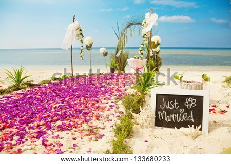 beach wedding venue (focus on text)