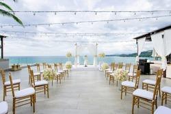 Beach Wedding Venue ocean view background, gold chairs, flower, floral, Koh Samui, Thailand