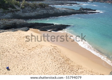 Beach with a lot of foot steps