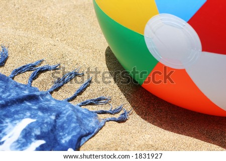 Beach with ball and sarong