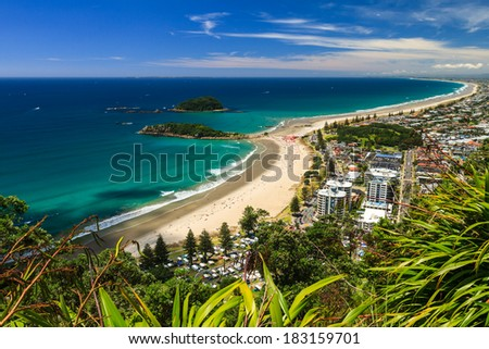 Beach with Blue Sky Landscape Tauranga City North Island New Zealand