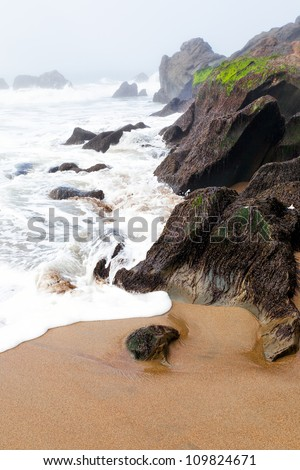 Beach with boulders in the mist and fog.  The tide is rushing in with foam on the sand.  Location is San Francisco near the foot of the Golden Gate Bridge.  Copy space
