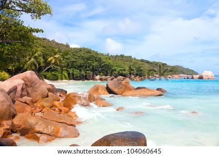 Beach with boulders on the Praslin island