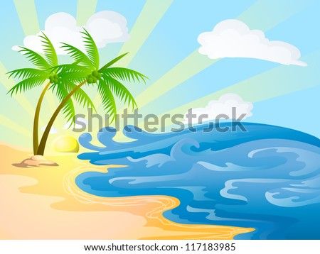 beach with coconut trees on sunny day