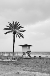 Beach with palm tree and life guard tower by the sea in low season  - Black and white photography