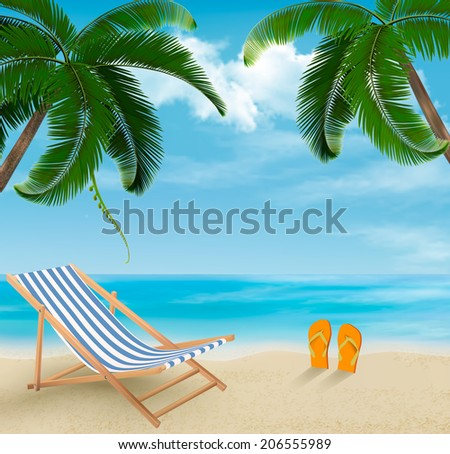 beach with palm trees and beach ...