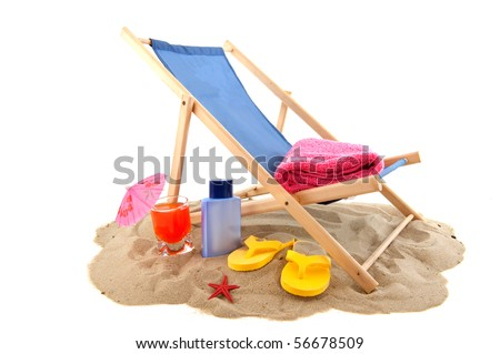 Beach with relax chair drink flip flops for vacation