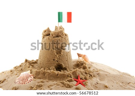 Beach with sand castle in Italy isolated over white