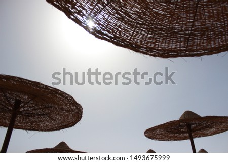Beach with umbrellas, the sky is clear, relaxation, relaxation