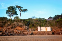 Beach with vintage cabins in Brittany at Saint Briac near Saint Malo, France
