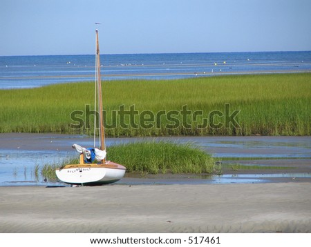 Beached sailboat at low tide, Cape Cod