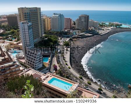 Beaches and hotels of Puerto de la Cruz, Tenerife, Spain
