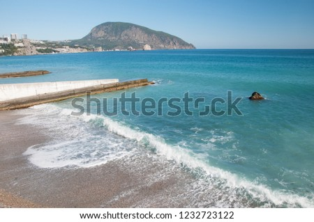 Beaches at Gurzuf with Ayu-Dag or Bear mountain in the background, Crimea, Black Sea coastline