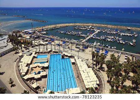Beaches of Tel-Aviv, marine with yachts and pool (Mediterranean sea. Israel)
