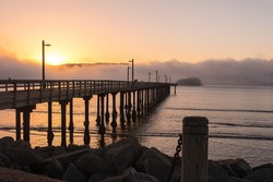 Beachfront park at misty dawn. Crescent City, California