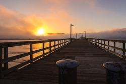 Beachfront park in sunrise. California, Crescent City