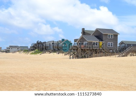 beachfront properties along the shore of Kill Devil Hills in the Outer Banks of North Carolina