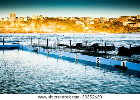 Beachside Swimming Pool with Lane Numbers
