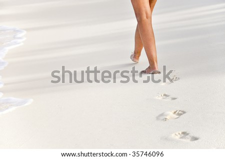 beachwalk with footprints