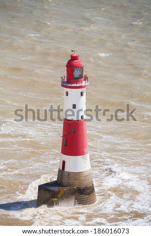 Beachy Head Lighthouse in the sea. East Sussex, England