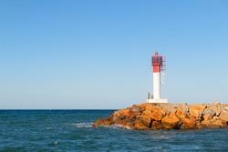 Beacon at Banyuls sur mer at the French coast
