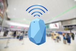 Beacon device home and office radar. Use for all situations. and blur background at the airport