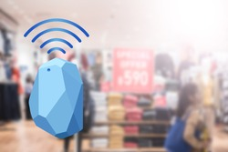Beacon device home and office radar. Use for all situations. with network connect signal graphic and blur background at the shopping mall.