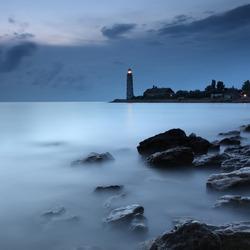 Beacon on the island at night