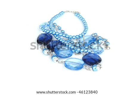 Beads glass  isolated blue - stock photo