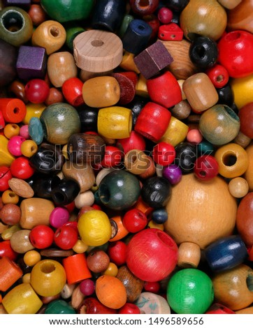 Beads, many colors, many shapes and a variety of sizes
