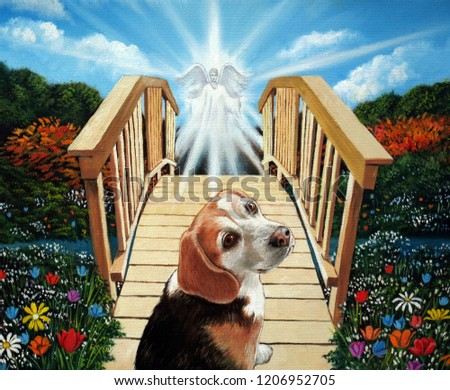 Beagle dog heading over the bridge of afterlife in oil painting.