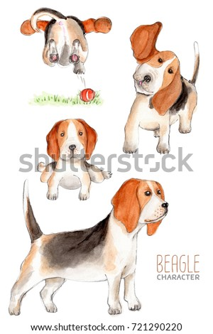 Shutterstock Beagle, watercolor dog character.