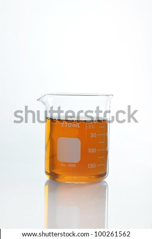 beaker and glass tube for chemical science use in laboratory. - stock photo