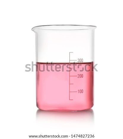 Beaker with color liquid isolated on white. Solution chemistry