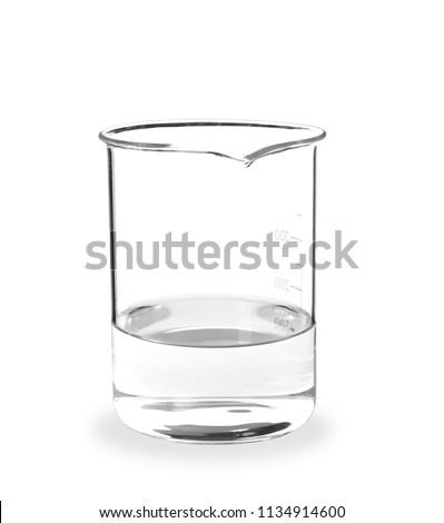 Beaker with liquid on white background. Laboratory analysis equipment
