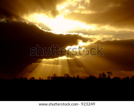 beam, cloud, dramatic, horizontal, illumination, landscape, light, nature, outdoor, rain, ray, sky, spiritual, storm, summer, sun, sunbeam, sunset, weather, dark, clouds, landscape, silhouette