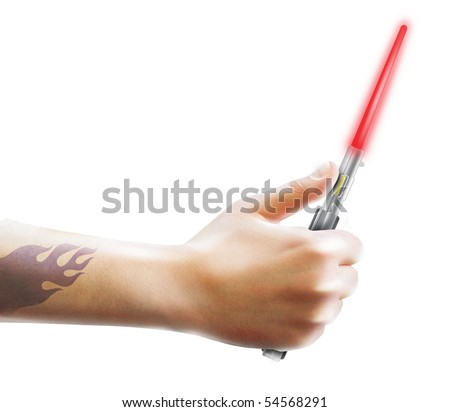 stock photo beam red sword in his hand men tattoo sword Jedi