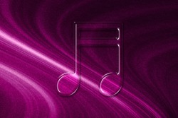 Beamed sixteenth note symbol, Music Background, magenta background