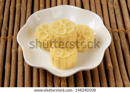 Bean paste cake on the white plate