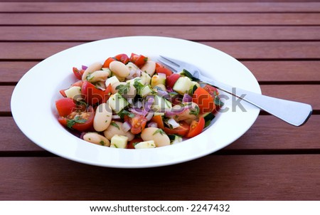 Bean Salad in Bowl on Outdoor Table