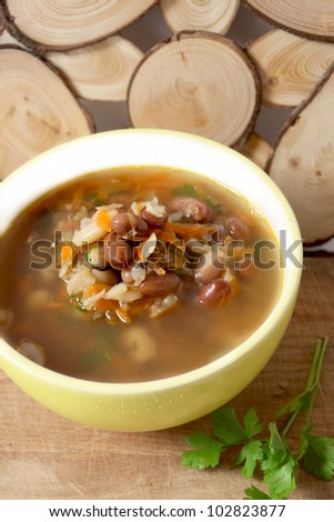 bean soup with parsley