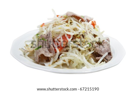 Bean sprout cooked with herbs, tomato and beef