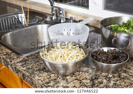 Bean sprouts, Chinese wood ears, and Choy on top of kitchen counter next to stainless steel sink with plastic strainer