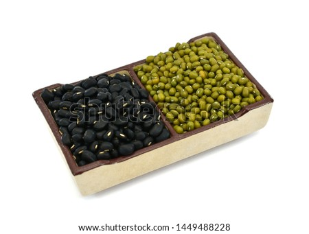 beans,  black beans with mung beans isolated on white background