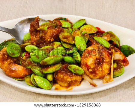Beans fried with chili paste and shrimp.